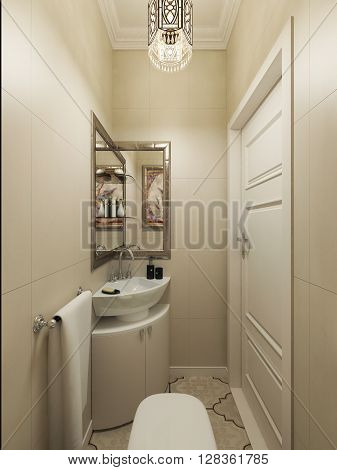 Bathroom morroccan style, cream walls. 3d render