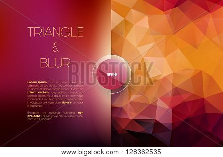 Vector abstract modern background in two parts - blurred and polygonal, graphic design template