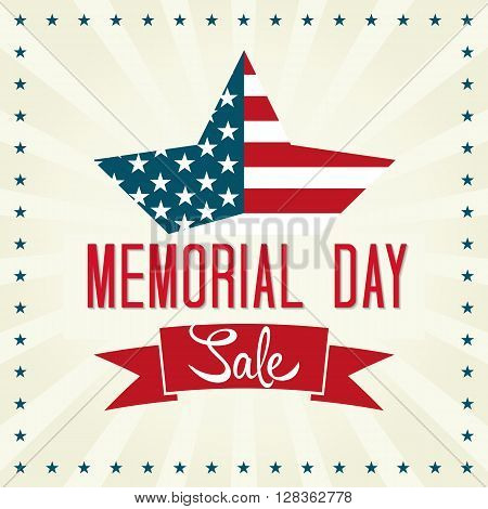 Memorial Day Sale Vector Illustration. Star with American Flag.