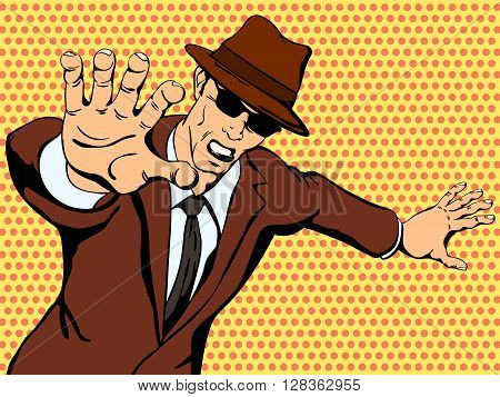 Gangster shows aggression. Retro comics. Vector illustration