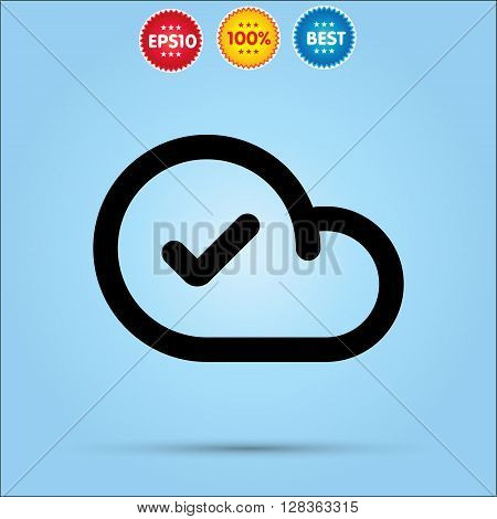 Approved Cloud Icon Cloud Check flat vector icon.