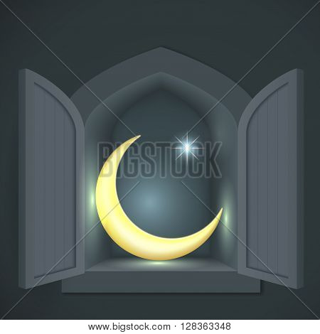 Islamic crescent and star in a wall alcove or closet at night.