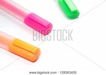 Closed up multicolor Highlighter marker or highlight pen