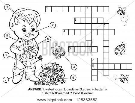 Vector Colorless Crossword. Cat Gardener Watering Flowers