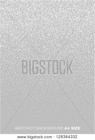 Abstract Gradient Halftone White Dots on Gray Background, A4 size. a4 format vector illustration.