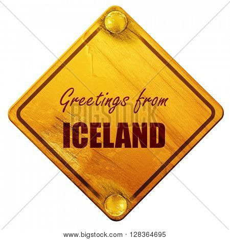 Greetings from iceland, 3D rendering, isolated grunge yellow roa