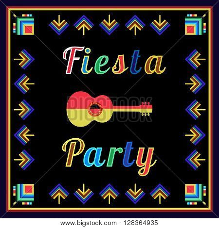 Mexican Fiesta party advertisement. Holiday vector poster card cinco de mayo. Design idea to advertise fiesta party in Mexica. Template for fiesta decoration. Vector illustration
