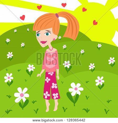 Beautiful blond girl in love walking on a meadow.