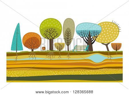 The vector illustration of flat park background elements - various trees, garbage can, bench and soil cut layers with roots, rocks and water.