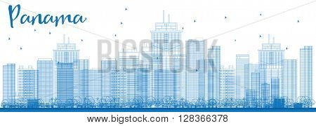 Outline Panama City skyline with blue skyscrapers. Business travel and tourism concept with modern buildings. Image for presentation, banner, placard and web site.