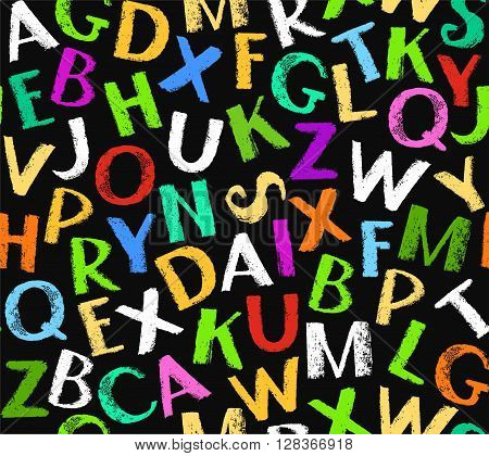 Vector seamless pattern of colored letters of the English alphabet on a black background. The imitation of the texture of crayons and pencils. Flat style. For the decoration.