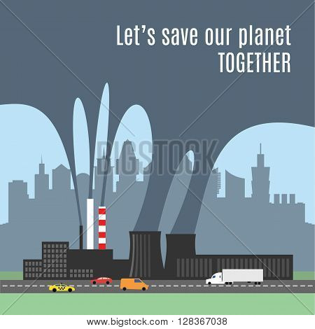 A conceptual illustration showing the polluted smoke from a factory chimney over a city. Causes of air pollution, acid rains and green house effect. Ecological disaster. Industrial problems.