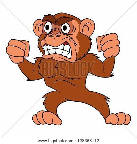 Illustration of the angry monkey on white background