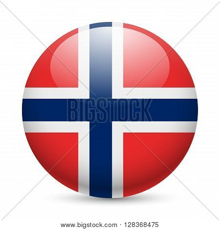 Flag of Norway as round glossy icon. Button with Norwegian flag