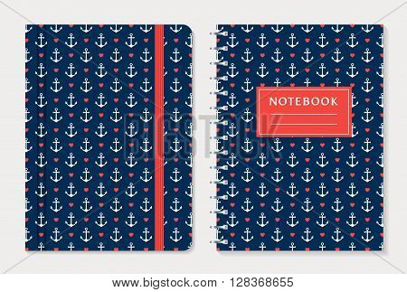 Notebook cover design. Notepad with elastic band and spiral notebook with anchors and hearts. Nautical style collection. Vector set.