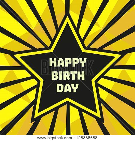 Happy Birthday Card. Poster on party celebration. Idea for design of birthday party greeting card holiday banner poster for birthday celebration festive decoration background. Vector illustration
