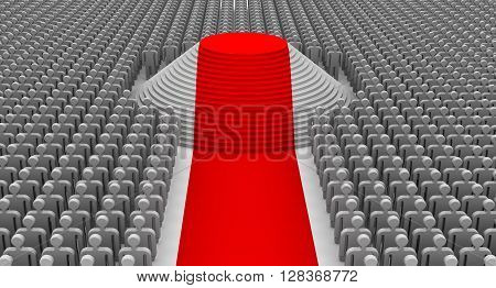 The award ceremony. Red carpet empty pedestal with steps and the large number of spectators. Isolated. 3D Illustration