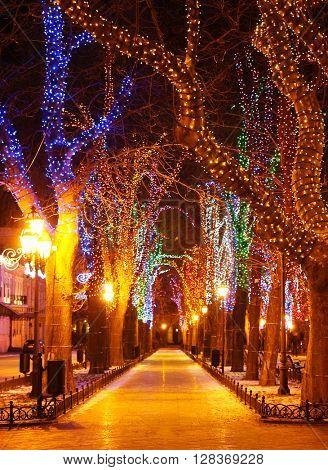Night lighting street of Odessa