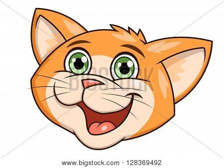 Illustration of the smiling happy cute little kitten head
