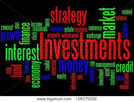 Investments, Word Cloud Concept 4