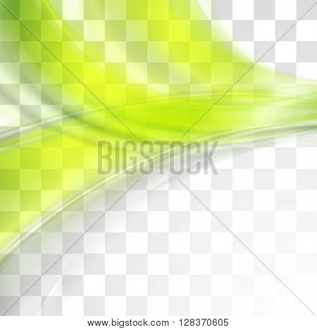 Bright green soft abstract transparent waves. Vector graphic template wavy design. Colorful flyer and brochure element