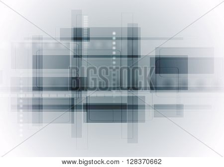 Light blue abstract technology background. Geometric tech vector design with squares. Vector hi-tech illustration