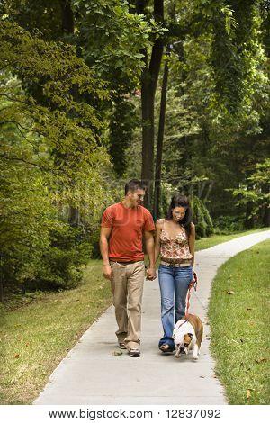 Caucasian mid adult couple walking English Bulldog in park.