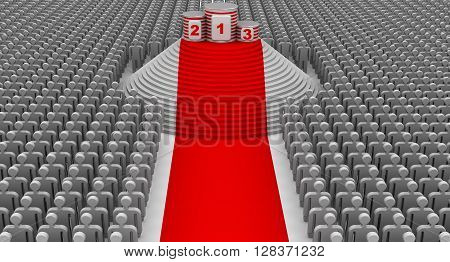 The award ceremony. Red carpet empty winners podium and the large number of spectators. Isolated. 3D Illustration