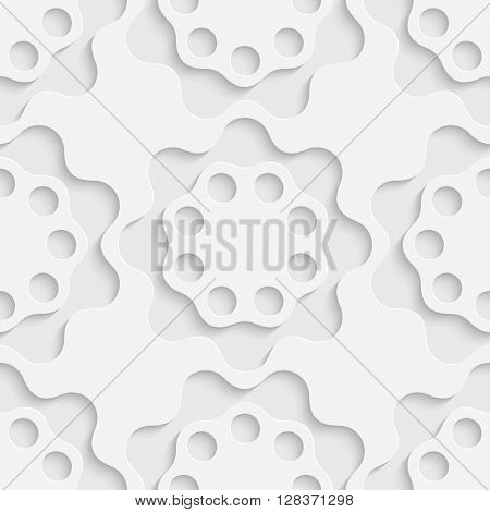 Seamless Flower Pattern. Vector Soft Background. Regular White Texture