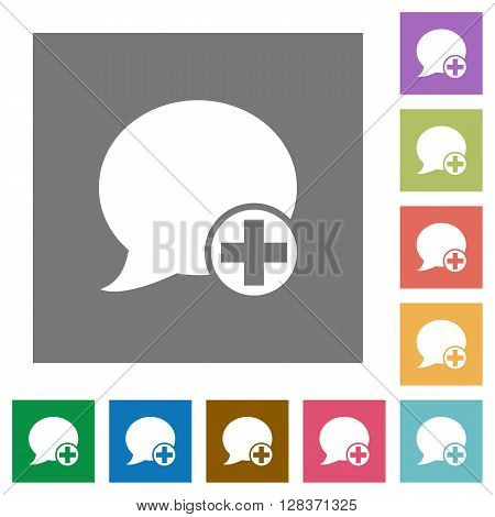 Post blog comment flat icon set on color square background.