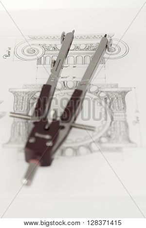 architectural drawing - detail column & compass