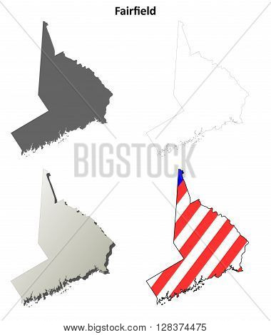 Fairfield County, Connecticut blank outline map set