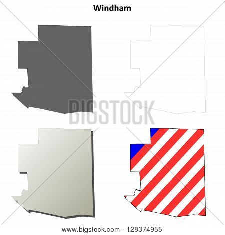 Windham County, Connecticut blank outline map set