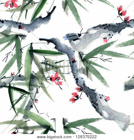 Watercolor and ink illustration of sakura and bamboo with insect in style sumi-e u-sin. Oriental traditional painting. Seamless pattern.
