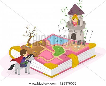 Stickman Illustration of a Young Prince Trying to Rescue a Young Princess
