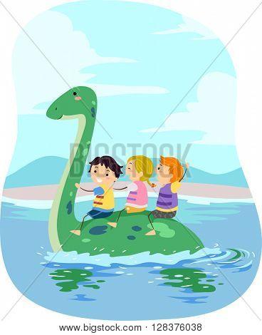 Stickman Illustration of Kids Riding a Plesiosaur