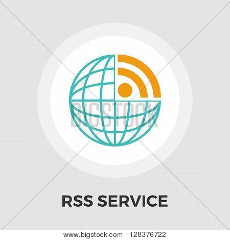 RSS icon vector. Flat icon isolated on the white background. Editable EPS file. Vector illustration.