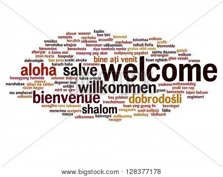 Concept or conceptual abstract welcome or greeting international word cloud in different languages or multilingual
