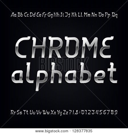 Chrome alphabet font. Modern metalic lowercase, uppercase letters and numbers on a dark background. Vector typeface for labels, titles, posters etc.