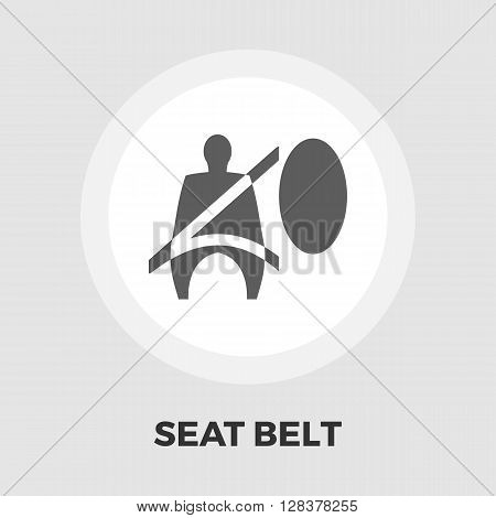 Seat belt icon vector. Flat icon isolated on the white background. Editable EPS file. Vector illustration.