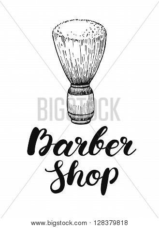 Vector hand drawn vintage barber shop label. Engraved illustration and handwritten lettering. Great for label banner poster flyer barber business promote