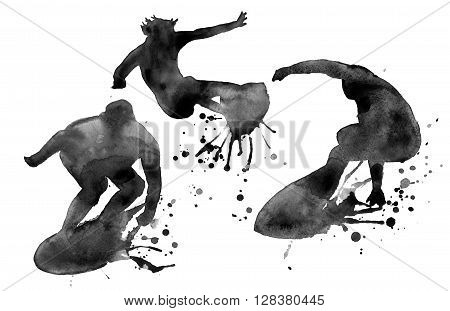 Black silhouette of three people surfer. isolated. painted in watercolor