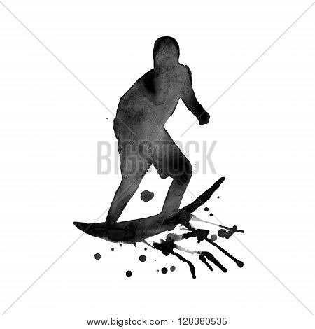 Black silhouette of a man surfer. isolated. painted in watercolor