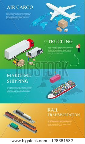 Flat style vector illustration delivery service concept. International delivery and worldwide postage. On-time delivery.