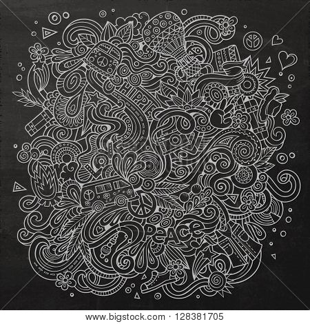 Cartoon hand-drawn doodles hippie illustration. Chalkboard detailed, with lots of objects vector background
