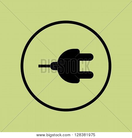 Plug Icon In Vector Format. Premium Quality Plug Symbol. Web Graphic Plug Sign On Green Circle Backg