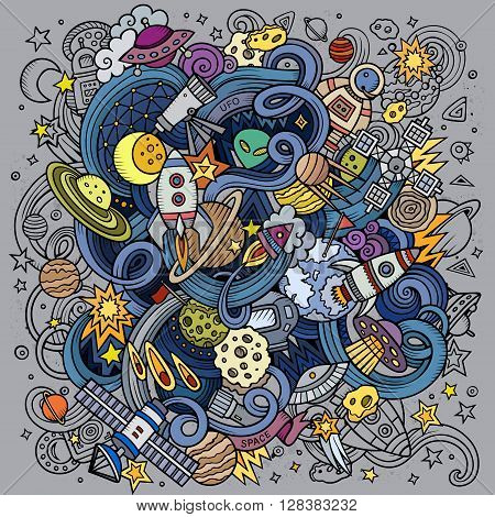 Cartoon hand-drawn doodles Space illustration. Colorful detailed, with lots of objects vector background