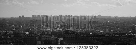 Black and white panoramic view of the Paris skyline from the stairs of the Sacre Couer on Montmartre.