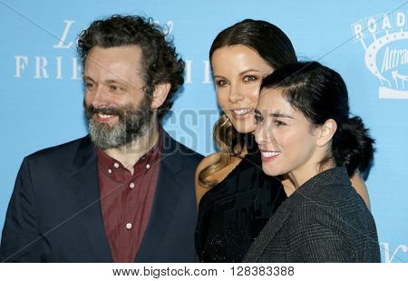 Michael Sheen, Sarah Silverman and Kate Beckinsale at the Los Angeles premiere of 'Love And Friendship' held at the DGA Theater in Hollywood, USA on May 3, 2016.
