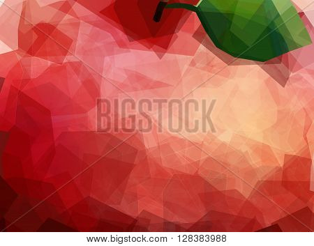 Macro creative view of apple. Red fruit Peel Texture unusual polygonal background. Modern vector editable template. Apple with leaf abstract illustration